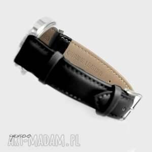 srebrne zegarki skórzany zegarek, bransoletka - simple