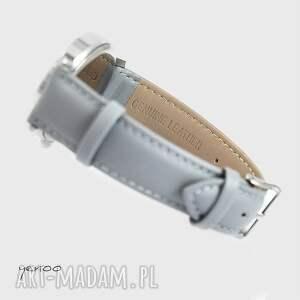 szare zegarki skórzany zegarek, bransoletka - geometric