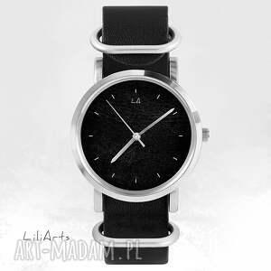 srebrne zegarki skórzany zegarek, bransoletka - czarny