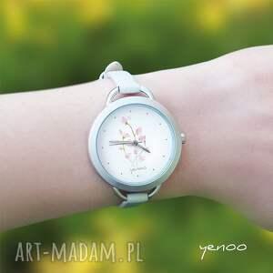 białe zegarki bransoletka zegarek, - różowe