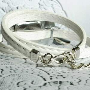 białe zegarki delikatny zegarek damski na pasku skórzanym z