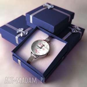 różowe zegarki zegarek-damski zegarek damski kwiat wiśni prezent