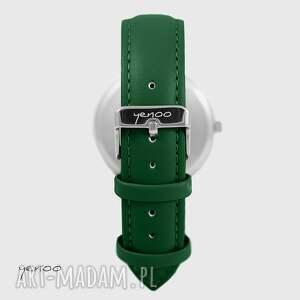 Yenoo Zegarek - Folkowe serce, czarne - skórzany, zielony - ręcznie