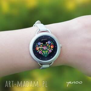 srebrne zegarki bransoletka zegarek - folkowe serce, czarny