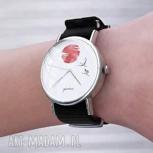 czerwone zegarki bransoletka zegarek - japońskie żurawie