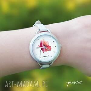 białe zegarki bransoletka zegarek - mak, kwiat