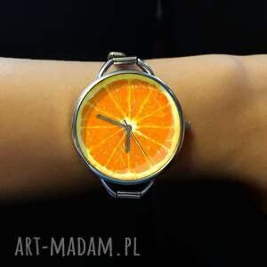 unikalne zegarki zegarek pomarańcza z dużą tarczką