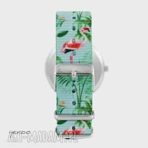 ręczne wykonanie zegarki zegarek - tukan - flamingi, nato