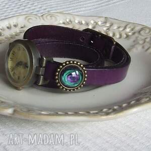 fioletowe zegarki zegarek vintage z grafiką skórzany
