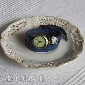 złote zegarki zegarek vintage z grafiką skórzany