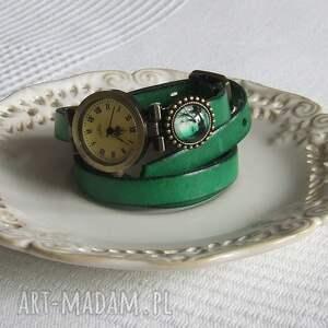 zielone biżuteria zegarek vintage z grafiką skórzany