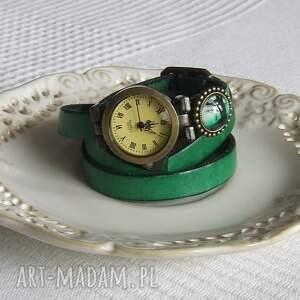 niepowtarzalne biżuteria zegarek vintage z grafiką skórzany