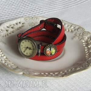 zegarki: Zegarek Vintage z Grafiką Skórzany Czerwony - stary biżuteria