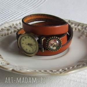zegarki skóra zegarek vintage z grafiką skórzany