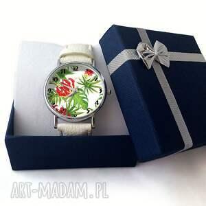 czerwone zegarki skórzany zegarek z dużą tarczą tropikalne