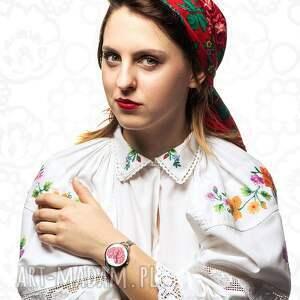 czerwone zegarki etniczne zegarek z grafiką ludowe love