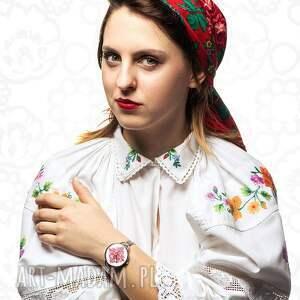 czerwone zegarki folk zegarek z grafiką kujawy