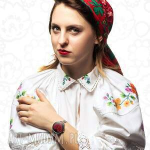 czarne zegarki miłość zegarek z grafiką love ludowe
