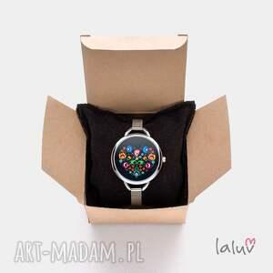 bransoletka zegarki białe zegarek z grafiką podmuch