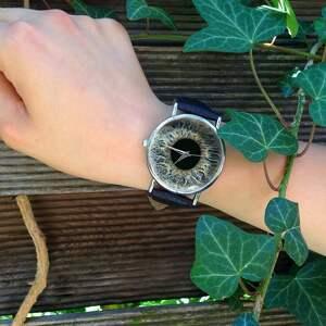 hand made zegarki zegarek źrenica - skórzany z dużą