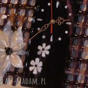 ręcznie zrobione zegary szklo artystyczna kompozycja ze szkła