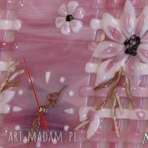 różowe zegary zegar artystyczna kompozycja ze szkła