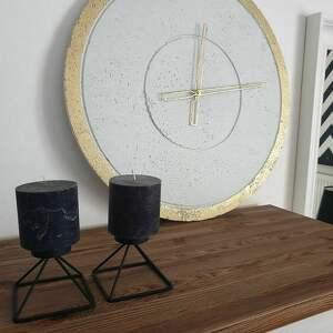 nietypowe zegary nowoczesny duży betonowy zegar ścienny złoty
