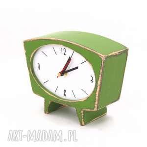 upominek drewno zegar drewniany sixty zielony