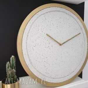 białe zegary zegar betonowy mini groove biały