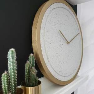 złote zegary zegar betonowy mini groove biały