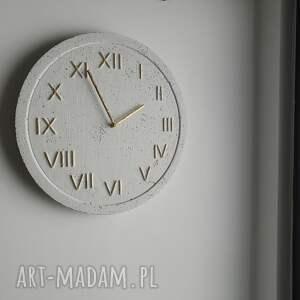 białe zegary styl skandynawski zegar betonowy handmade z betonu