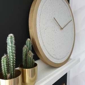 stylowy zegar zegary betonowy mini groove biały
