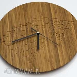 nietypowe zegary drewno zegar drewniany wolf 100%
