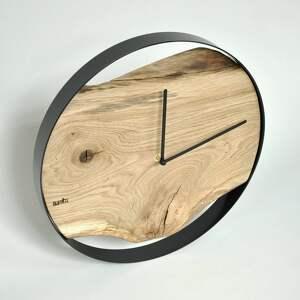 niepowtarzalne zegary zegar loft - dębowy - czarna obręcz