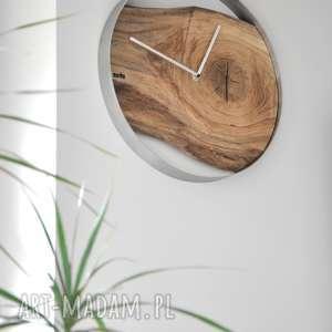 loft zegary zegar - dębowy w stalowej