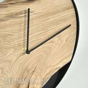 dębowy zegary zegar loft - czarna obręcz