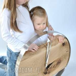 brązowe zegary zegar loft - dębowy duży w stalowej