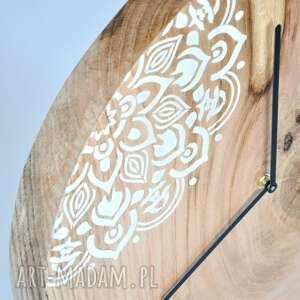 debowy zegary białe zegar loft - dębowy duży z motywem