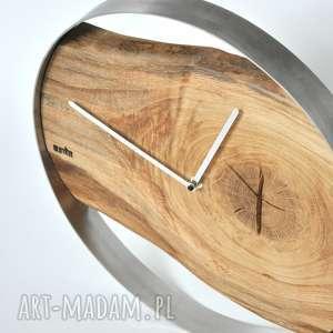 zegary drewno zegar loft - dębowy duży w stalowej