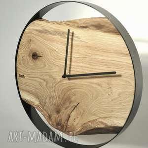 niepowtarzalne zegary dębowy zegar loft - czarna obręcz