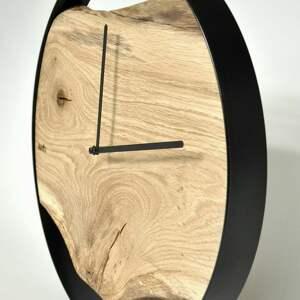 zegary dębowy zegar loft - czarna obręcz