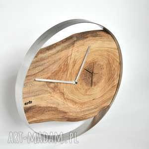 szare zegary drewno zegar loft - dębowy w stalowej
