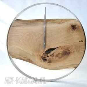 stal zegary zegar loft - dębowy duży w stalowej