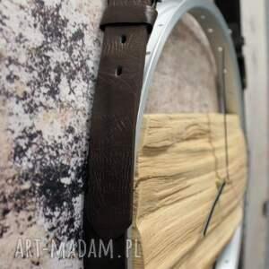 zegary drewniany zegar na skórzanych pasach