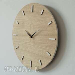 białe zegary zegar 40 cm, ścienny dąb