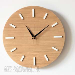 białe zegary zegar 30 cm, ścienny dąb