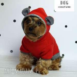 czerwone zwierzaki ubranie bluza z kapturem dla psa.