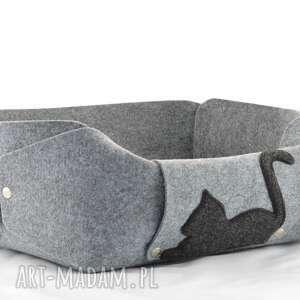 szare zwierzaki filc legowisko dla kota, posłanie